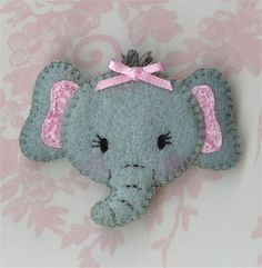 very cute Elephant face for a door stop Felt Diy, Handmade Felt, Felt Crafts, Sewing Crafts, Sewing Projects, Elephant Face, Felt Hair Clips, Barrettes, Felt Decorations