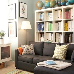 ikea bookshelf, vintage globes... doing this!!!