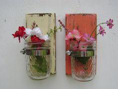 wood sconce mason jar wall vase french country decor shabby chic SET of TWO #masonjars #masonjarcraftslove