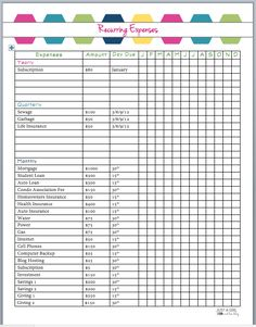 Recurring Expenses Printable: Organizing Finances by Just a Girl and Her Blog
