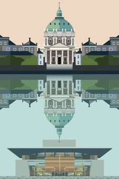Copenhagen Postcard - Marble church and reflected Opera House - Designed and illustrated by Sivellink House Illustration, Travel Illustration, Graphic Design Illustration, Graphic Art, Zurich, City Icon, Las Vegas, Silhouette Vector, Travel Posters