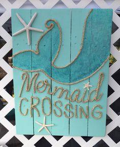 Handmade Mermaid Crossing with Rope Beach Pallet Art by BeachByDesignCo on Etsy https://www.etsy.com/listing/232110094/handmade-mermaid-crossing-with-rope