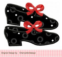Tap Shoes 01 Digital Applique 4x4 5x7 by CherryStitchDesign, $2.99