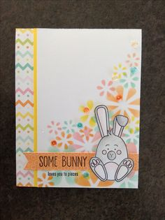 Simon Says Stamp March card kit - Some Bunny - by Cori Bailey #SSSFAVE.   Note: background was created by isolating individual flowers from egg stencil and sponging ink onto cardstock.