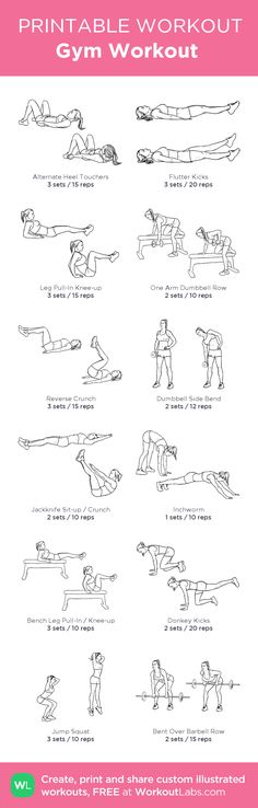 Gym Workout :my custom printable workout by @WorkoutLabs #workoutlabs #customworkout