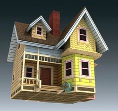 UP-Flying House 3D DIY Design Papermodel Model Puzzle Toy Papercraft Toy Figures children day
