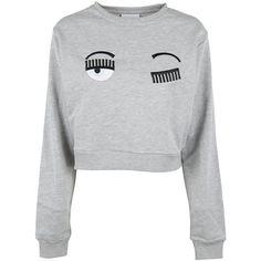 Flirting Sweatshirt (855455 PYG) ❤ liked on Polyvore featuring tops, hoodies, sweatshirts, grigio, chiara ferragni, applique sweatshirts, round neck sweatshirt, long sleeve tops and long sleeve sweatshirts