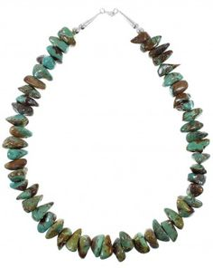 Navajo Native American Sterling Silver Turquoise Bead Necklace YX76981