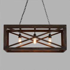 Rectangular Gray Wood 3 Light Valencia Chandelier | World Market