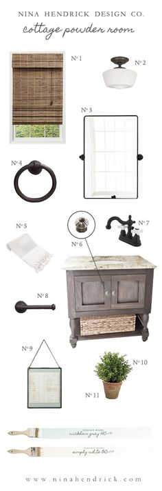 Cottage Powder Room Inspiration | Get small bathroom decor inspiration and ideas from this mood board for a cottage powder room.