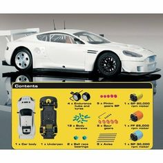 Pro Performance Aston Martin DBR9 Car by Scalextric. $79.79. 3 alternative high performance motors included - Undecorated car body - apply your own decoration. Build, decorate and race tune your own slot car - More than 40 pieces included. Operates on most common brand name 1:32 scale analog slot car tracks. Intended for ages 14+. No soldering required. C3082 The Pro Performance Assembly Kit allows you everything you need to build, decorate and race tune your own 1:32 S...