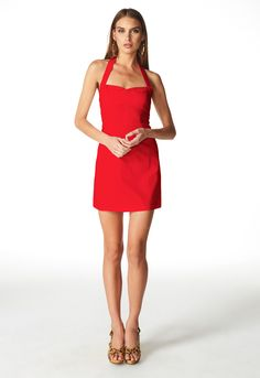Fitted halterneck mini dress Sweetheart neckline Halterneck Shirred ruching at the back for an easy fit Flattering hourglass fit - Dresses For Work, Neckline, Dress Red, Fashion, Red Gown Dress, Moda, Plunging Neckline, Fashion Styles, Fashion Illustrations