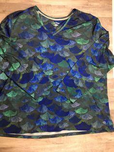 REEL LEGENDS Women's Long Sleeve v-neck Top Blue Green Stingray print uv 3x    eBay