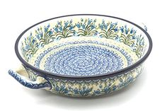 <3 Polish Pottery Baker - Round with Handles - Large - Blue Bells