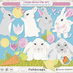 Cute Easter Bunny Clip Art Rabbit Digital Graphic by FishScraps