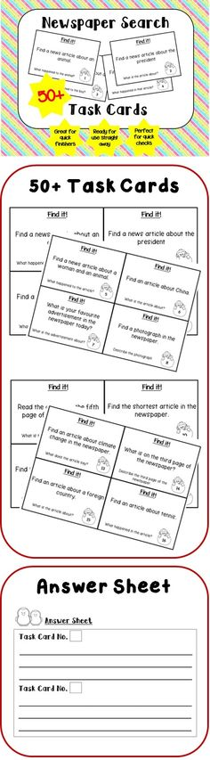 Newspaper Search Task Cards (50+). Key words: Newspaper | News | Search | Task Cards | Newspaper Search | Seach Newspaper | Newspaper Search Task Cards | Newspaper Task Cards. Roller English (www.rollerenglish.blogspot.com)