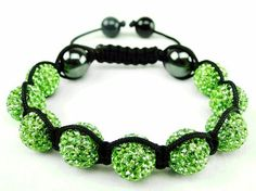 Crystal Jade shamballa bracelet | unisex shamballa inspired bracelet | green crystal pave bangle (by BAGATI CRYSTO) BAGATI CRYSTO. $49.97. Lavish handmade Light Green Pave Cut Crystals (cut by BAGATI CRYSTO). Exquisite level of superiority in Crystal quality and appearance. 26 grams in weight. 9 beautiful Green Crystal Pave Argil beads + 2 Magnetic Hematite (holistic hematite). Adjustable Nylon string shamballa bracelet pattern for a very durable hold