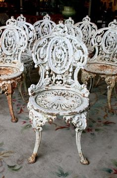 Set of 8 cast Iron Garden Chairs