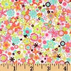 Michael Miller Sorbet Tiny Flowers Watermelon - Discount Designer Fabric - Fabric.com