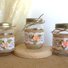 mason jars- wrapped in burlap Pot Mason Diy, Mason Jar Crafts, Bottle Crafts, Lace Mason Jars, Bottles And Jars, Glass Jars, Recycling, Burlap Crafts, Altered Bottles