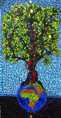 Tree of Human Life, illuminated art glass mosaic X X Mosaic Glass, Glass Art, Illumination Art, Life