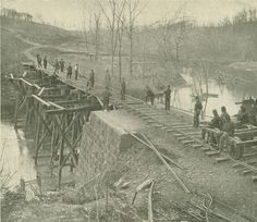 Civil War Love Letters: June 23, 1862 - Letter from James E. Love, Trenton, to Molly. James mentions that his brigade fixed railroad bridges between Columbus, Kentucky, and Memphis, Tennessee. The bridges probably looked similar to this bridge across Bull Run in Virginia.