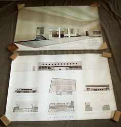 Bus station english art deco mid century #architectural #drawing 2 #pieces,  View more on the LINK: http://www.zeppy.io/product/gb/2/231433035833/