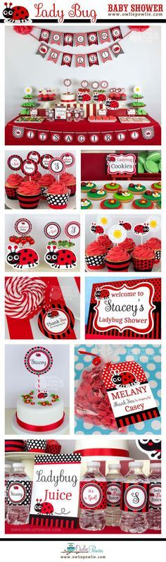 Lady Bug BABY Shower Party Printable Package & Invitation, INSTANT DOWNLOAD, You Edit Yourself with Adobe Reader