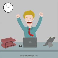 Happy Businessman Free Vector