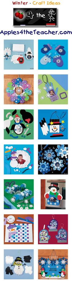 Fun Winter crafts for kids - Winter craft ideas for children. http://www.apples4theteacher.com/holidays/winter/kids-crafts/