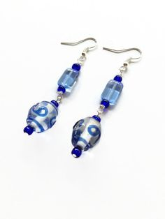 Blue Glass Swirl Bead Earrings Blue Glass Earrings Blue Dangle Earrings Blue Glass Bead Drop Earrings Blue Glass Bead Dangle Earrings (E224) by JulemiJewelry on Etsy