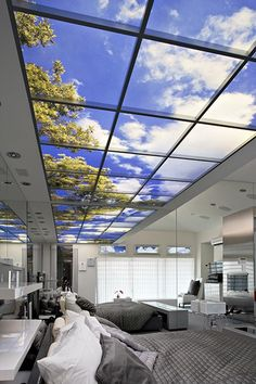 Sky Ceilings. I soooo want one of these fake sky views on my bedroom…