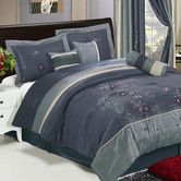Found it at Wayfair - Shades of Floral Embroidered 7 Piece Comforter Set
