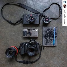 @prakashdaniel ・・・ These are my all time favourites. The Leica M6 is something I carry when I go out to do some street photography. The Contax T2 is the camera I bring for parties as its robust and has a cool built in flash. #myonhand camera and workhorse in my arsenal is the Canon 60D which has been faithful to me for the past 5 plus years. Also my trusty notebook which is always in my camera bag when I need to take notes of people I photograph for my @beardsofmalaysia portrait project…