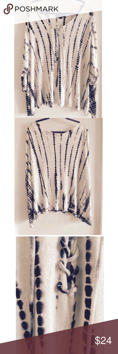 Rock & Republic Cream and Navy Lace up Top Rock & Republic Cream and Navy Lace up Top; Could be worn plus size or as an oversized dolman top paired with leggings! (BRAND NEW, NEVER WORN) Rock & Republic Tops Blouses