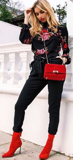 #winter #outfits  black and red floral long-sleeved top with black drawstring pants and pair of red leather boots outfit. Pic by @amynevfashiondiaries.