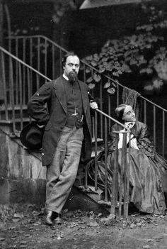 Christina and Dante Gabriel Rossetti, photographed by Charles Lutwidge Dodsgon on 7 October 1863 (detail of a larger photograph)