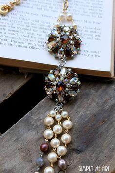 Vintage+Brown+and+AB+Rhinestone+Pearl+and+Gemstone+por+simplymeart,+$90.00