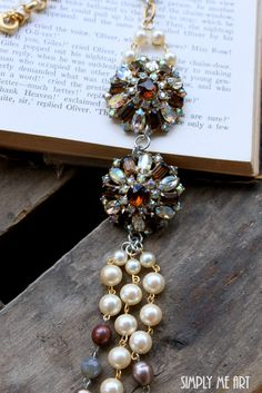 Vintage Brown and AB Rhinestone Pearl and Gemstone by simplymeart, $90.00