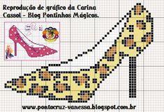0 point de croix escarpin léopard - cross stitch leopard high heels shoe