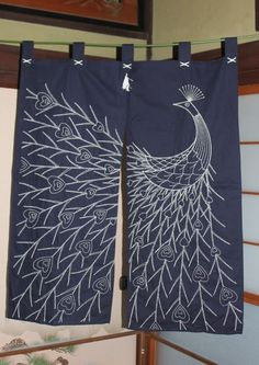 Japanese cotton NOREN split curtain,KUJYAKU SASHIKO stitch design - 107 x 87cm