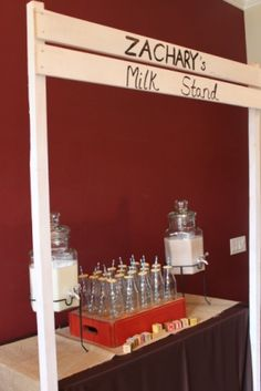 milk stand. would be cute with different flavors (chocolate, strawberry, vanilla) at a kids event with cookies on the side!