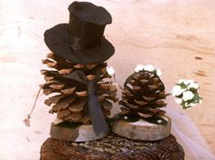 rustic wedding cake topper pine cone forest fall by MomoRadRose, $35.00