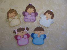 Angeli custode da appendere con preghiera dietro e da personalizzare con il nome del bambino davanti.  Legno dipinto a mano