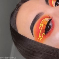 orange und gelber feuer lidschatten – - Makeup Looks Yellow Fire Makeup, Makeup Eye Looks, Eye Makeup Art, Crazy Makeup, Pretty Makeup, Skin Makeup, Makeup Inspo, Eyeshadow Makeup, Makeup Hacks