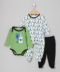Look what I found on #zulily! Green Guitar Footie Set - Infant by Rumble Tumble #zulilyfinds
