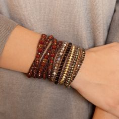 Chan Luu - Smokey Mix and Crystal Wrap Bracelet on Saada Leather, $245.00 (http://www.chanluu.com/wrap-bracelets/smokey-mix-and-crystal-wrap-bracelet-on-saada-leather/)
