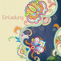 Quadratische Einladungskarte Mit Elegantem Blumenornamenten In Vielen  Farben.
