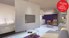 Nessa ideia, uma parede giratória com uma TV separa os espaços da sala de estar e do quarto. Assim, você tem a televisão nos dois ambientes do loft.