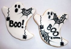 Ghost cookies Halloween Cookies Decorated, Halloween Sugar Cookies, Halloween Baking, Halloween Food For Party, Halloween Cakes, Halloween Treats, Halloween Ghosts, Decorated Cookies, Candy Corn Cookies